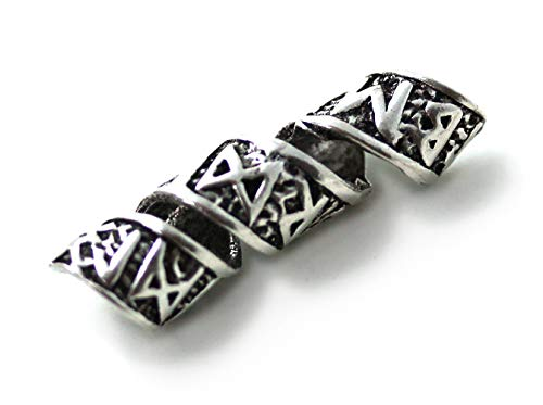 LynnAround 925 Sterling Silver Norse Viking Celtic Runes Beard Rings, Dreadlock Pirate Hair Beads, Pagan -