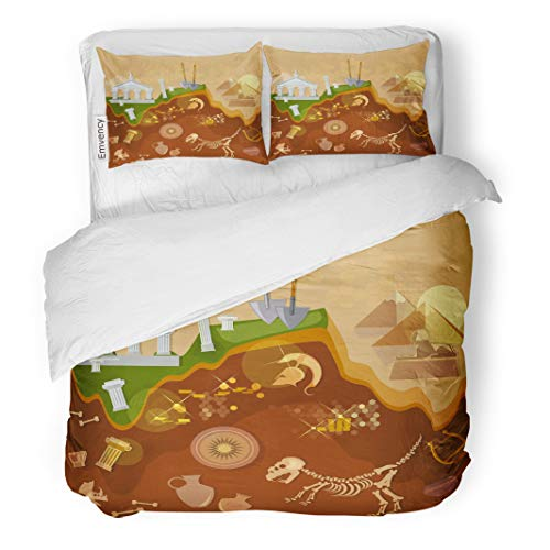 - Semtomn Decor Duvet Cover Set Twin Size Dig Archeology Treasure Hunters Ancient Artifacts Archaeological Excavations Greece 3 Piece Brushed Microfiber Fabric Print Bedding Set Cover