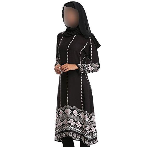 Xinvision Femmes Du Moyen-orient Musulman Habillent L'église D'impression Ethnique Robe De Prière Islamic Manches Longues Saudi Arabia Dubai Ramadan Abaya Pakistan Cocktail Caftan, 082 # Noir