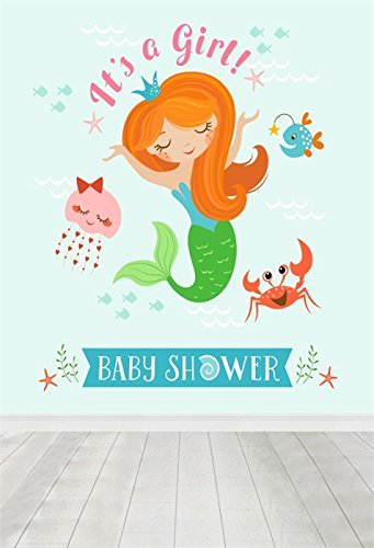 OFILA Girl Baby Shower Backdrop 3x5ft Party Celebration Cute Mermaid Fish Crab Decoration Interior Wallpaper Wood