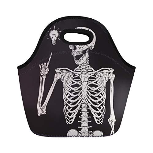 Semtomn Neoprene Lunch Tote Bag Vintage Human Skeleton Has Idea Over Halloween Heavy Drawing Reusable Cooler Bags Insulated Thermal Picnic Handbag for Travel,School,Outdoors,Work -