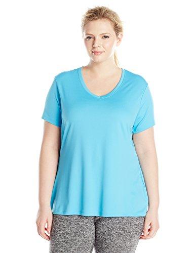 (Just My Size Women's Plus-Size Cooldri s/V-Neck, Process Blue,)