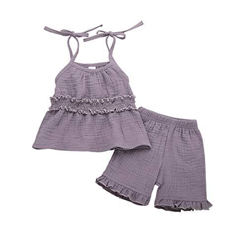 2PCS Toddler Baby Girls Summer Short Set Clothes Ruffle Dress Top + Pants Set Linen Outfits (Purple, 3T) Dress Top Pants Shorts