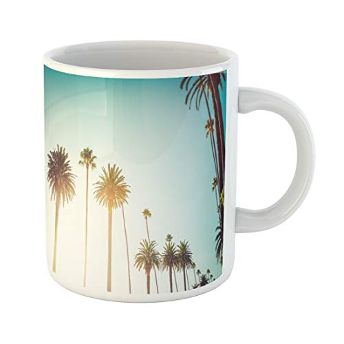 Semtomn Funny Coffee Mug Rodeo Drive in Beverly Hills Palm Trees Bordering Hollywood 11 Oz Ceramic Coffee Mugs Tea Cup Best Gift Or Souvenir]()