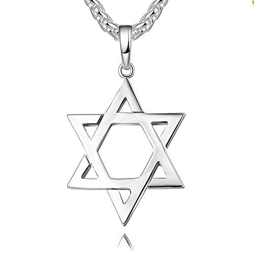 (Reizteko Jewish Jewelry Megan Star of David Pendant Necklace Women Men Chain Stainless Steel Israel Necklace (Silver))