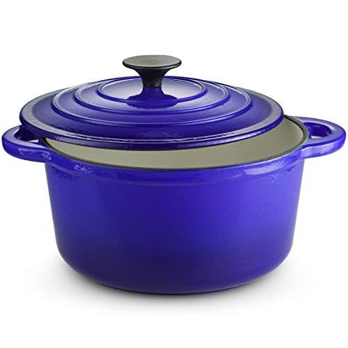 Klee Enameled Cast Iron Dutch Oven Casserole Stockpot with Lid - 4 Quart Dutch Oven Casserole Dish - Oven Safe Casserole Dish with Self-Basting Cast Iron Lid - Enameled Cast Iron Braiser Pan (Blue)