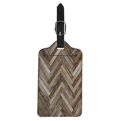 Pinbeam Luggage Tag Arrow Wood Parquet Herringbone Old Ash Beechwood Chevron Suitcase Baggage Label ()