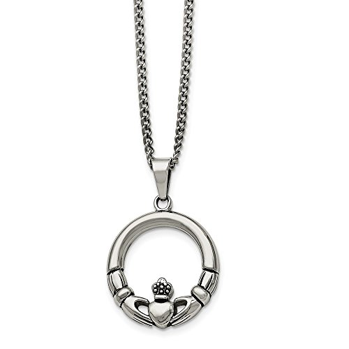 Stainless Steel Claddagh Circle Pendant Necklace - 22 ()