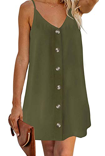 (OEUVRE Womens Casual V Neck Button Up Adjustable Spaghetti Strap Fit and Flare Shift Dresses Green S)