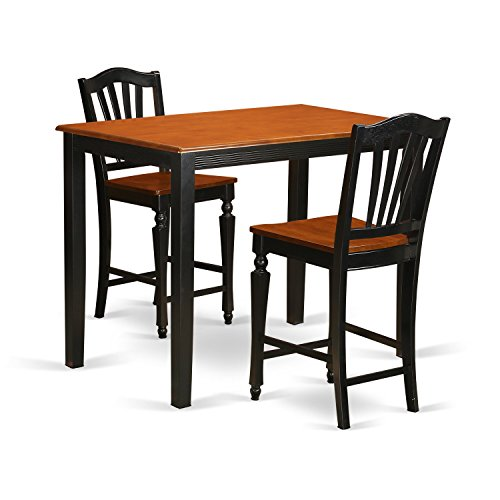 East West Furniture YACH3-BLK-W 3 Piece Pub Table and 2 Bar Stools Set