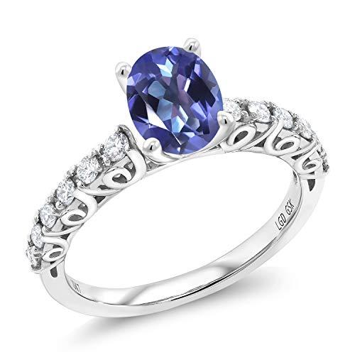 (1.60 Ct Oval Blue Mystic Topaz G/H Lab Grown Diamond 10K White Gold Ring (Size 8))