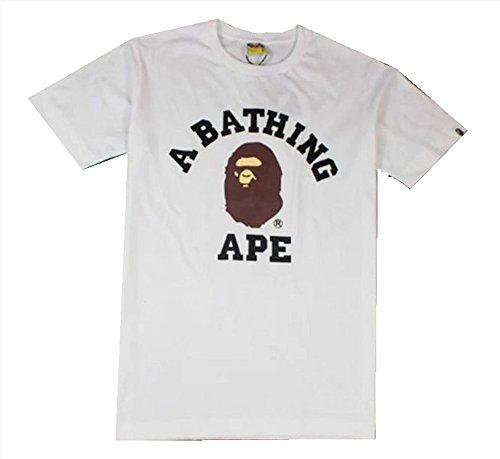 Men Girls Kids BAPE Camouflage Short Sleeve A Bathing Ape Shark Head Round Collar T-Shirt (S, White)