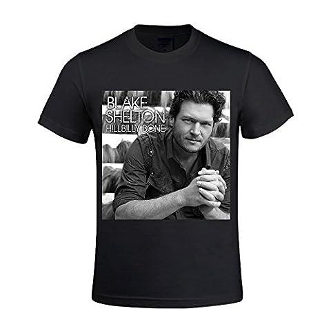 Blake Shelton Hillbilly Bone Men's T Shirts With Designs Round Neck Black (Rat Bones Jacket)