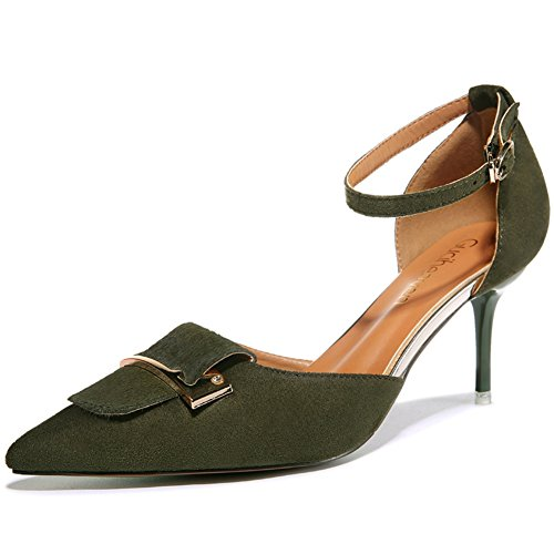 High Platform Toe Without Women's Chic Pointy Buckle Casual Heels Armygreen Strap Edge Shoes Pumps pEqzdq