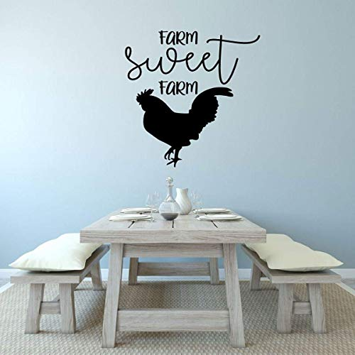 BYRON HOYLE Farmhouse Wall Decor - 'Farm Sweet Farm' Vinyl Lettering and Rooster Silhouette - Kitchen, Dining Room, Living Room, Bedroom Decoration ()