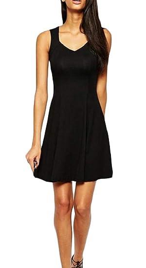 3b61a512473d03 Wofupowga Women Pleated Scoop Neck Swing Classic Sleeveless Midi Dresses  Black XXS