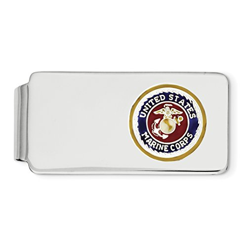 Maroon And Gold United States Marine Corps Emblem On Money Clip In 925 Sterling Silver 52x25mm