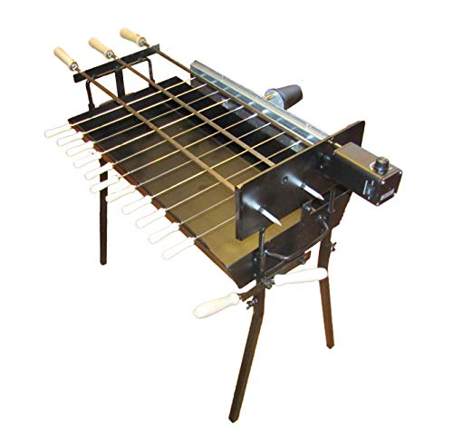 Tritogenia Inline Charcoal Grill with Two Multispeed 13-55RPM Rotisserie Motors, and Adjustable Height Regulator