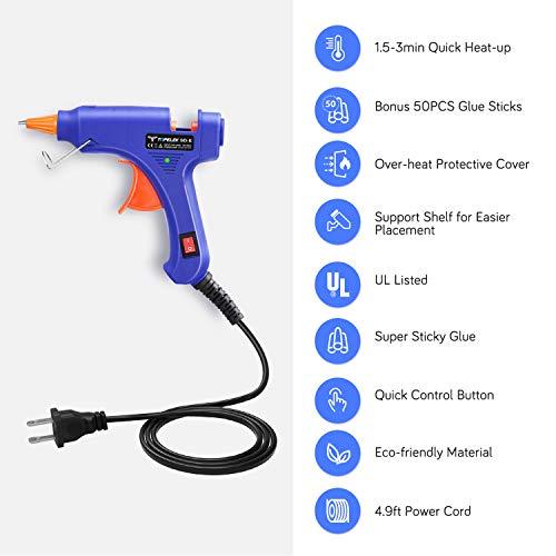 Hot Glue Gun, TopElek Glue Gun Kit with 50pcs Glue Sticks, High Temperature Melting Glue Gun for DIY Small Projects, Arts and Crafts, Home Quick Repairs,Artistic Creation(20 Watts, Blue)