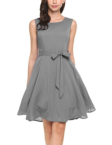 Gray Cocktail (Zeagoo Women's Scoop Neck Sleeveless A-line Cocktail Party Midi Dress, Gray_1, X-Large)