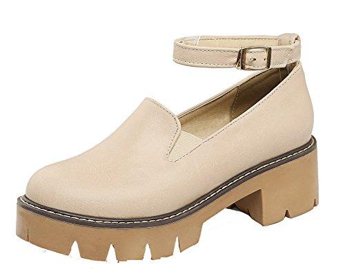 Toe scarpe Round tacco tacco tacco Gmxdb006694 medio Beige con Agoolar Women con con 8Zqx5OEEw