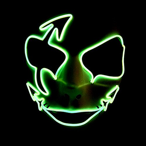 Guy Fawkes Girl Costume (Circle Circle El Wire Glowing Mask Luminous LED Light Up Cool Christmas Halloween DJ Birthday Cosplay Death Grimace Masks for Festival Party Show (Light Green))