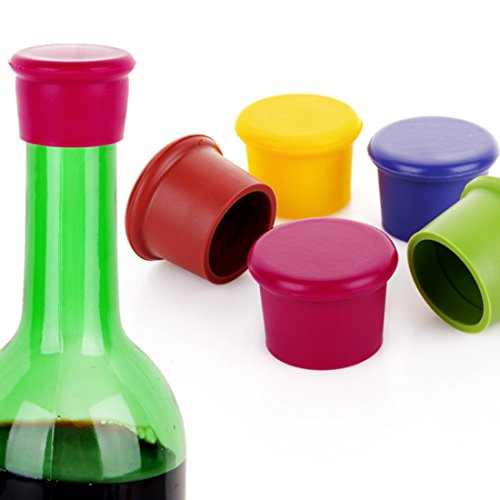 (Katoot@ 5Pcs Lovely Wine Bottle Stoppers Silicone Bar Tools Candy Color Beer Champagne Saver Stopper Sealer - Color Random)