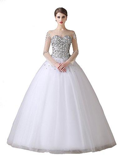 Nanger Damen A Linie Prinzessin Tull Hochzeitskleider Glitzer