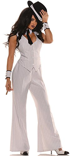 [Women's Mob Boss Costume, White/Black, Large] (Couple Costumes Black And White)