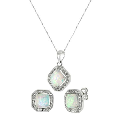 Cocktail Princess Synthetic White Lab Opal Sterling Silver Pendant Earring 18in Set (Necklace Ice Earrings)