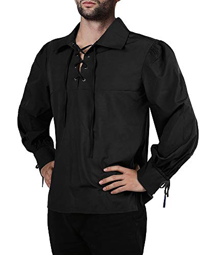 Mens Medieval Pirate Shirt Viking Renaissance Lace up Halloween Mercenary Scottish Jacobite Ghillie Tops -