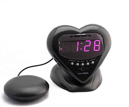 (Sonic Alert Sonic Bomb Extra Loud Heart Alarm Clock with Bed Shaker Vibrator. for Heavy Sleepers, Teenagers, People with Hearing Loss, Seniors, and The Deaf - Sonic Boom Metallic Black - SBH400SSB)