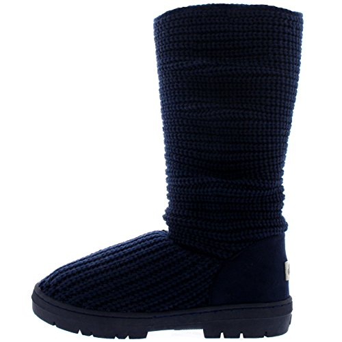 Holly Womens Schneestiefel Nylon Hoch Winter Schnee Wasserdicht Warm Regen Boot Navy gestrickt