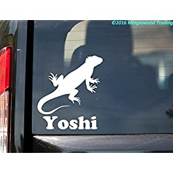 "Minglewood Trading Iguana vinyl decal sticker with Custom Personalized Name 5"" x 5.5"" Lizard Reptile - BLACK"