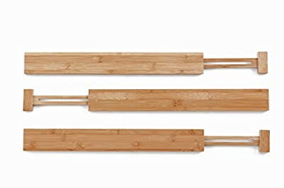 Kenley Bamboo Drawer Divider Organizer - Set of 3 Adjustable Expandable Dividers for Kitchen Utensils & Tools, Bedroom Dresser Clothes Underwear, Bathroom - Spring Loaded Wooden Organization Inserts