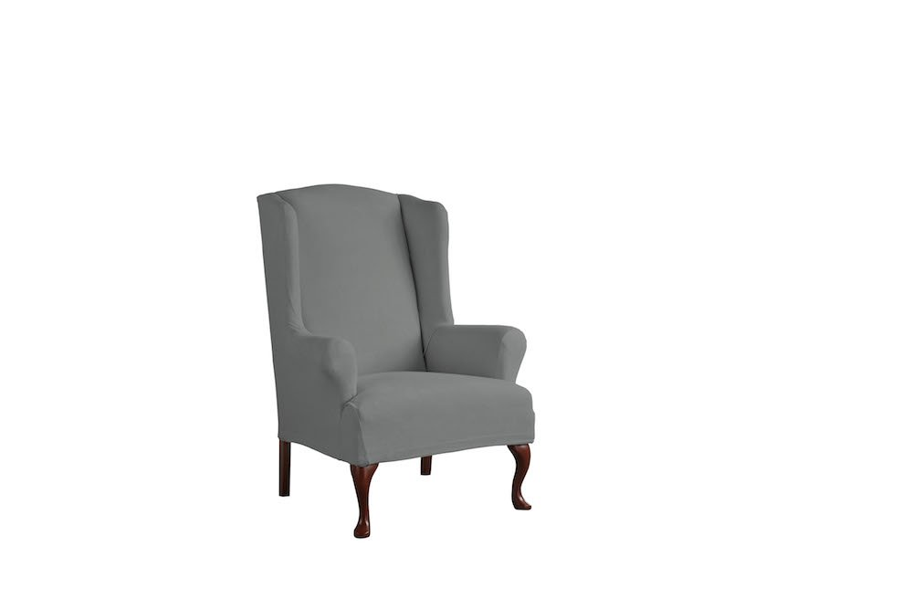 Serta 1 Piece Reversible Stretch Suede T Wingback Chair Slipcover, Steel Gray Herringbone/Gray Solid