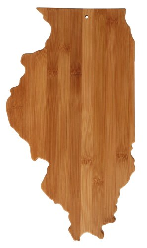 Totally Bamboo State Cutting & Serving Board, Illinois, 100% Bamboo Board for Cooking and Entertaining