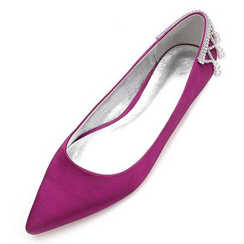 Boda de Corte high Perlas Las shoes Purple Sandalias Tobillo Zapatos de Fiesta Nupcial Zapatos Mujeres 5047 Elegant 14 Plano pwfBnqIp