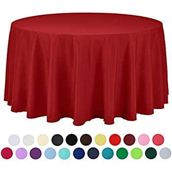 VEEYOO 108 Inch Round Solid Polyester Tablecloth For Wedding Restaurant  Party , Red