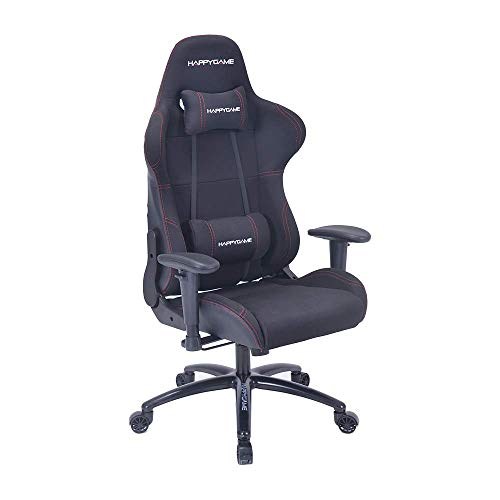 HAPPYGAME Multifunctional Computer Gaming Chair Designed for pro Gaming and Office Backrest, Pillows Recliner, Swivel Rocket Tilt and Seat Height Adjustment 7611B Black