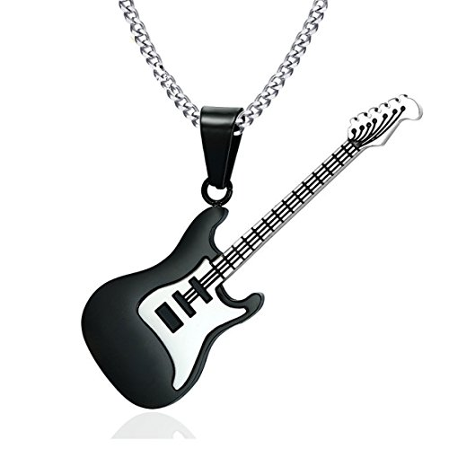 Reizteko Men Women Music Jewelry R&B Rock Electric Guitar Bass Pendant Necklace (Black-Gun-Plated) ()