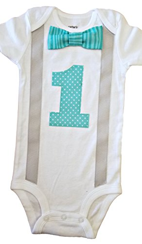 Perfect Pairz Baby Boys 1st Birthday Outfit - Aqua Tonal Stripes/DotsBodysuit