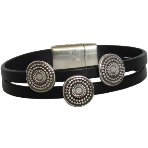 Radiant Circle Leather Bracelet - Double Strand with Magnetic Clasp for Women by Fine Line Leather Designs - Radiant Set Bracelet