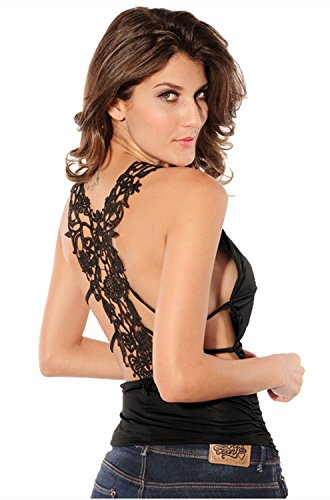 Back Clubwear Halter Top (Yasson Sexy Women Stunning Lace Back Ruched Halter Clubwear Top,Black,described as picture)