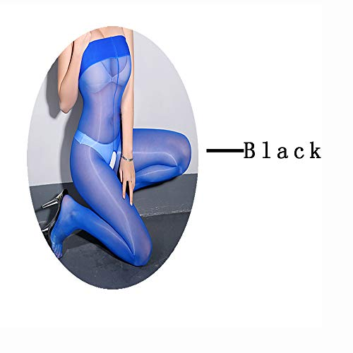 MILIAN Womens Sexy Crotchless Bodystocking 2 (Pairs) - Glitter Ultra Sheer Open Crotch Nightwear Pantyhose (Black+Blue)