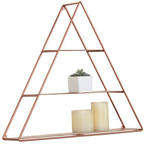 MyGift Wall Mounted Triangular Copper-Toned Metal 3-Tier Display Shelf ()