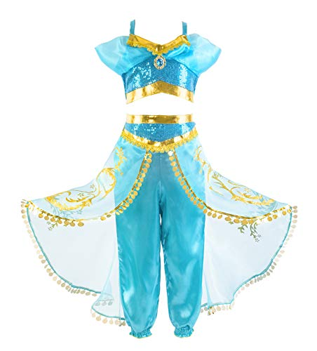Okidokiyo Girls Princess Jasmine Dress Up Costumes Halloween Party Dress with Accessories (9-10 Years, Gold Blue) -