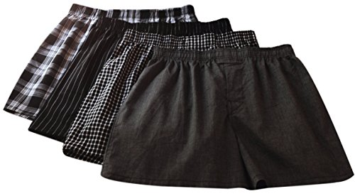 Gildan Platinum Woven Boxers 4 Pack - Black Gray (X-Large) (Solid Woven Boxer)