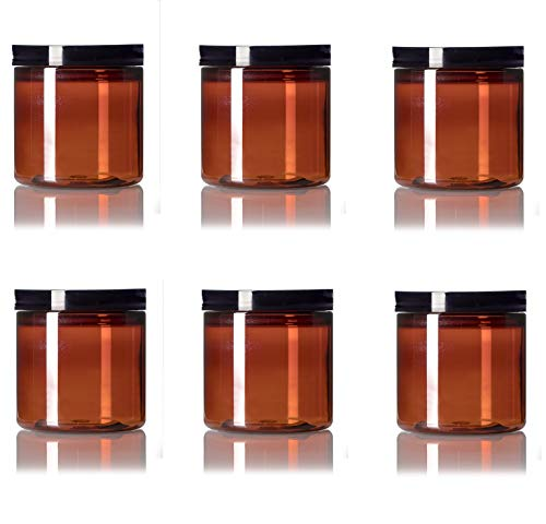 small amber plastic jars - 4