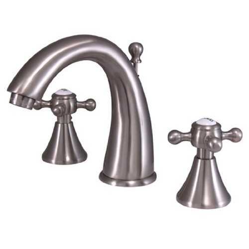 (Kingston Brass KS2978BX English Country Widespread Lavatory Faucet, Metal Cross Handle, Brushed Nickel)